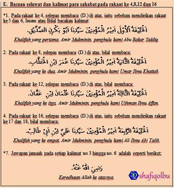 ... maka bolehlah dimulakan solat tarawih dengan bacaan bacaan berikut