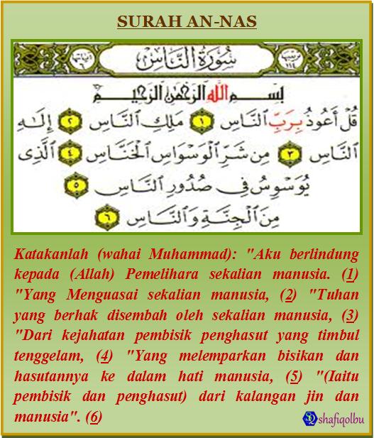 an nas adalah surah terakhir iaitu yang ke 114 setelah surah al falaq