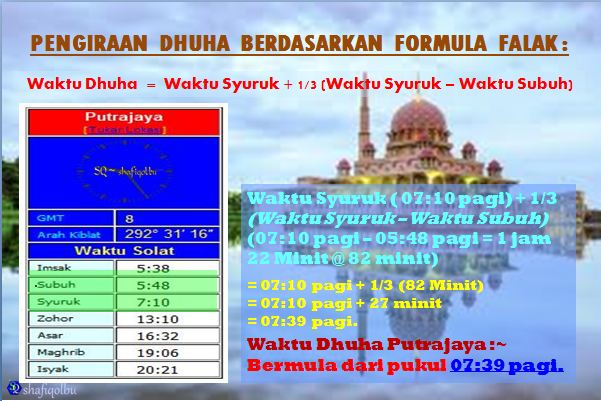 Pengiraan Waktu Dhuha Berdasarkan Formula Falak Shafiqolbu